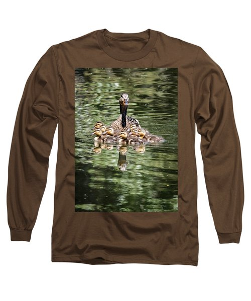 Mallard Hen With Ducklings And Reflection Long Sleeve T-Shirt