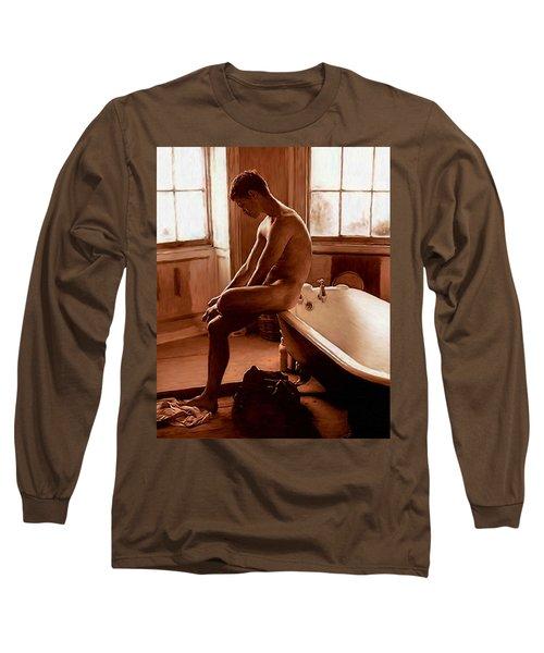 Man And Bath Long Sleeve T-Shirt