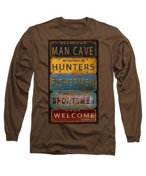 Man Cave-license Plate Art Long Sleeve T-Shirt by Jean Plout