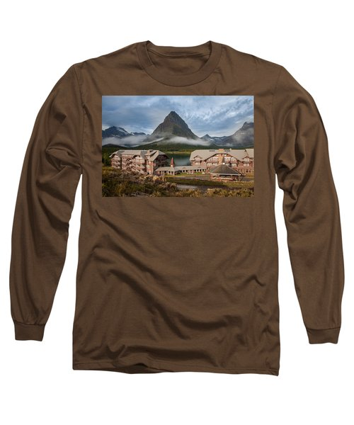 Many Glacier Hotel Long Sleeve T-Shirt by Jack Bell
