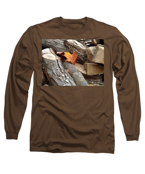 Maple Leaf In Wood Pile Long Sleeve T-Shirt
