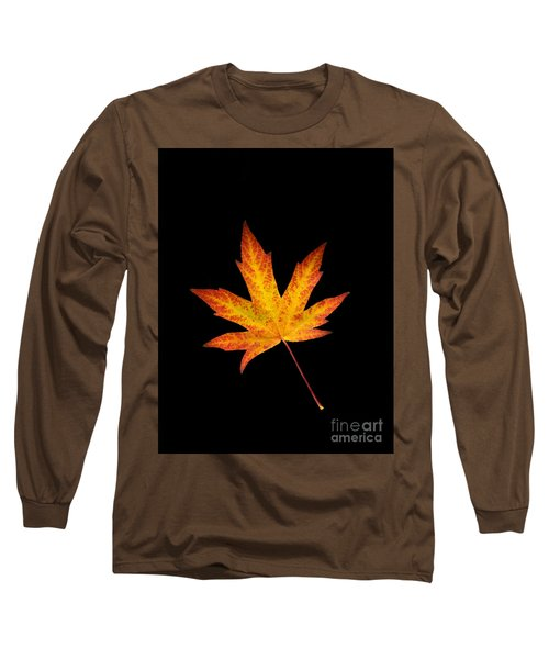 Maple Leaf On Black Long Sleeve T-Shirt