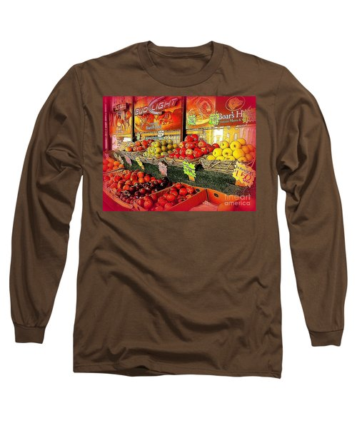 Long Sleeve T-Shirt featuring the photograph Apples And Plums In Red - Outdoor Markets Of New York City by Miriam Danar