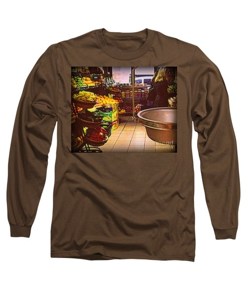 Long Sleeve T-Shirt featuring the photograph Market With Bronze Scale by Miriam Danar