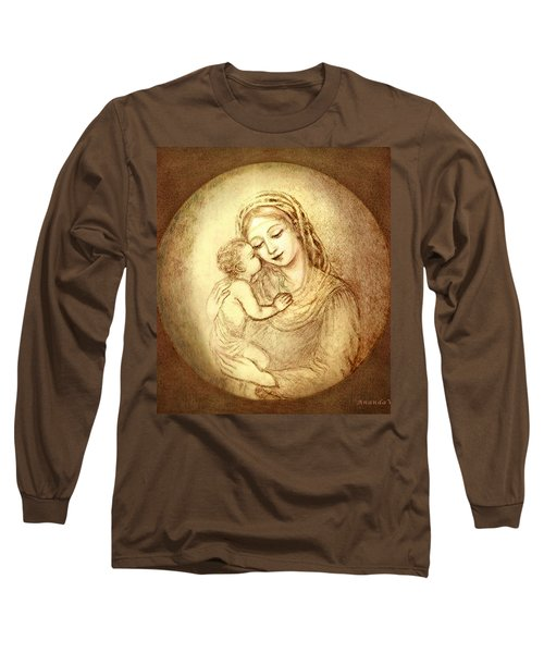 Mary And Jesus Long Sleeve T-Shirt by Ananda Vdovic