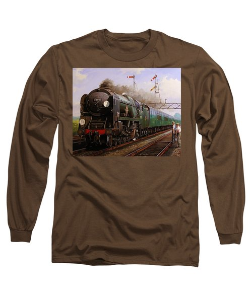 Merchant Navy Pacific At Brookwood. Long Sleeve T-Shirt