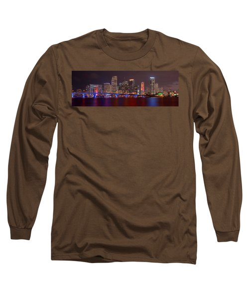 Miami Skyline At Night Panorama Color Long Sleeve T-Shirt by Jon Holiday