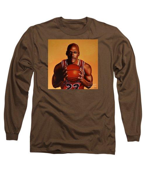 Michael Jordan 2 Long Sleeve T-Shirt by Paul Meijering
