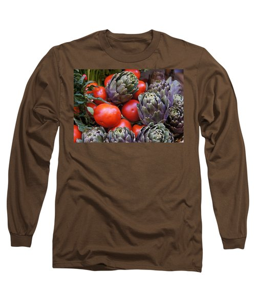 Articholes And Tomatoes Long Sleeve T-Shirt by Debi Demetrion
