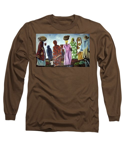 Long Sleeve T-Shirt featuring the painting Mombasa Market by Sher Nasser