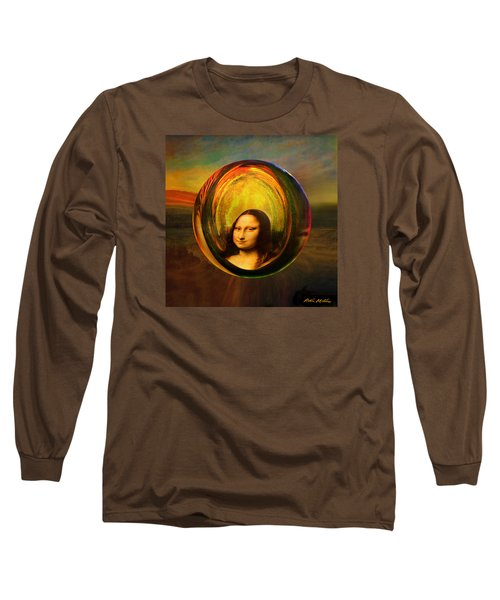 Long Sleeve T-Shirt featuring the painting Mona Lisa Circondata by Robin Moline