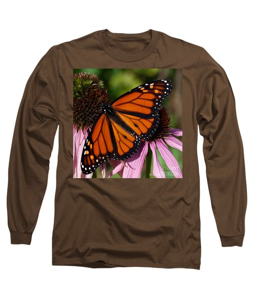 Long Sleeve T-Shirt featuring the photograph Monarch On Purple Coneflower by Barbara McMahon