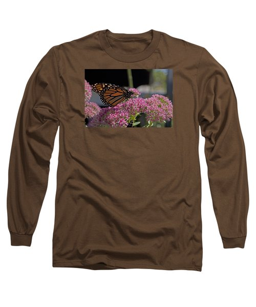 Monarch On Sedum Long Sleeve T-Shirt by Shelly Gunderson