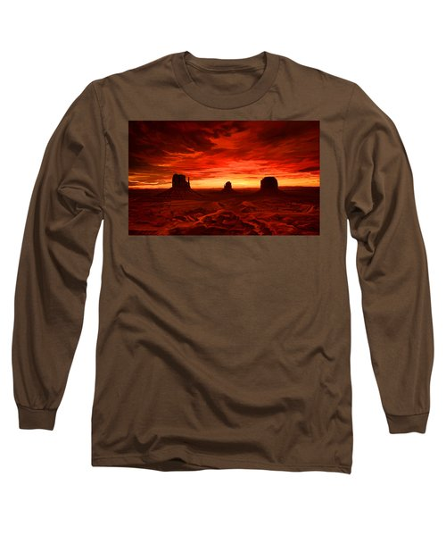 Long Sleeve T-Shirt featuring the painting Monument Valley Sunset by Tim Gilliland