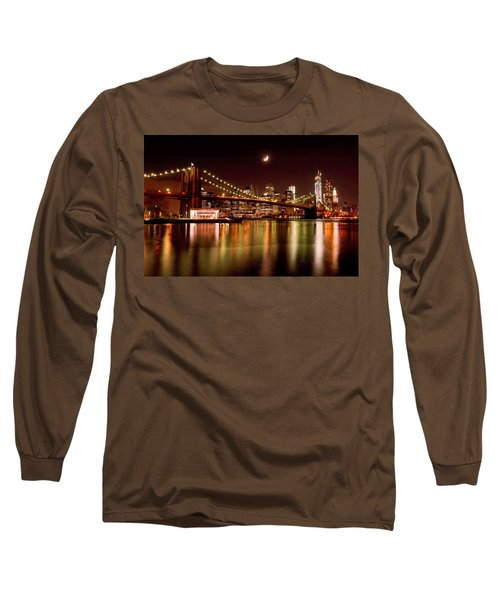 Moon Over The Brooklyn Bridge Long Sleeve T-Shirt by Mitchell R Grosky