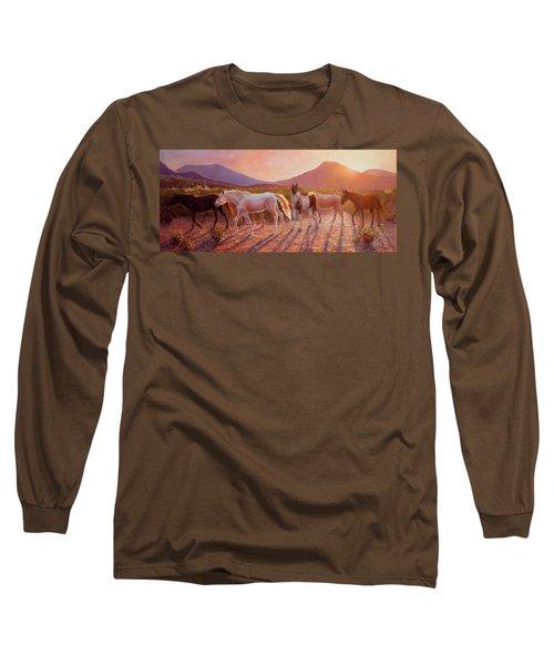 More Than Light Arizona Sunset And Wild Horses Long Sleeve T-Shirt
