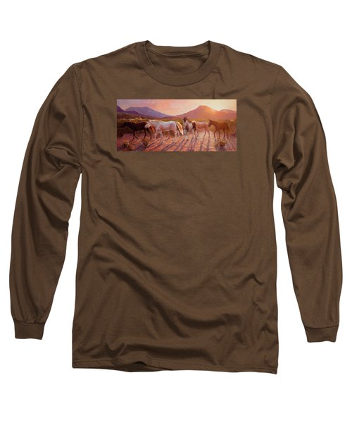 More Than Light Arizona Sunset And Wild Horses Long Sleeve T-Shirt