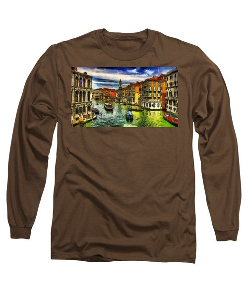 Long Sleeve T-Shirt featuring the painting Beautiful Morning In Venice, Italy by Georgi Dimitrov