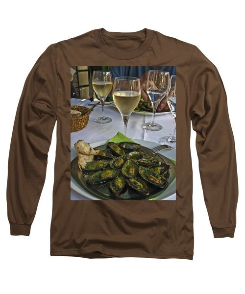 Long Sleeve T-Shirt featuring the photograph Moules And Chardonnay by Allen Sheffield