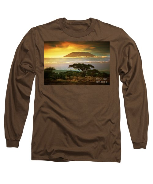 Mount Kilimanjaro Savanna In Amboseli Kenya Long Sleeve T-Shirt