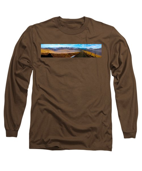 Mountain Farm Panorama Version 2 Long Sleeve T-Shirt by Tom Culver