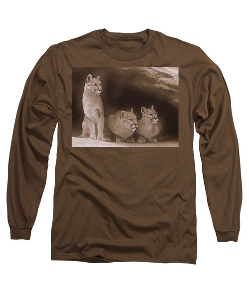 Mountain Lion Trio On Alert Long Sleeve T-Shirt
