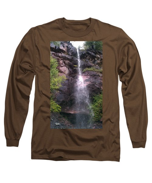 Long Sleeve T-Shirt featuring the photograph Mountain Waterfall by Fortunate Findings Shirley Dickerson