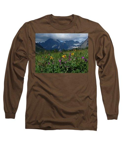 Mountain Wildflowers Long Sleeve T-Shirt by Alan Socolik