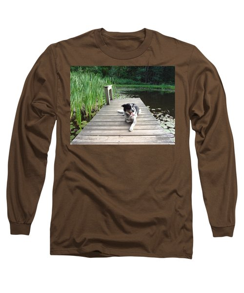 Long Sleeve T-Shirt featuring the photograph Mundee On The Dock by Michael Porchik