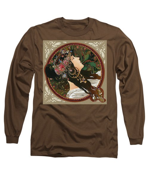My Acrylic Painting As Interpretation Of Alphonse Mucha - Byzantine Head The Brunette Diagonal Frame Long Sleeve T-Shirt