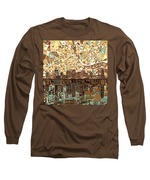 Nashville Skyline Abstract 4 Long Sleeve T-Shirt by Bekim Art