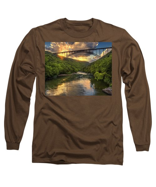 New River Evening Glow Long Sleeve T-Shirt by Mary Almond