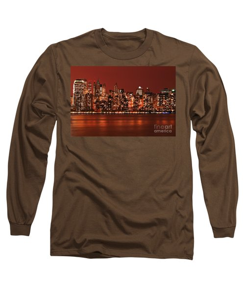New York City Skyline In Red Long Sleeve T-Shirt