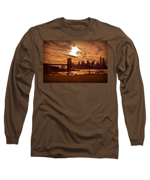 Long Sleeve T-Shirt featuring the photograph New York Skyline And Brooklyn Bridge -- Late Afternoon by Mitchell R Grosky