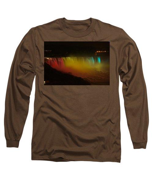 Niagara Falls A Glow Long Sleeve T-Shirt by Dave Files
