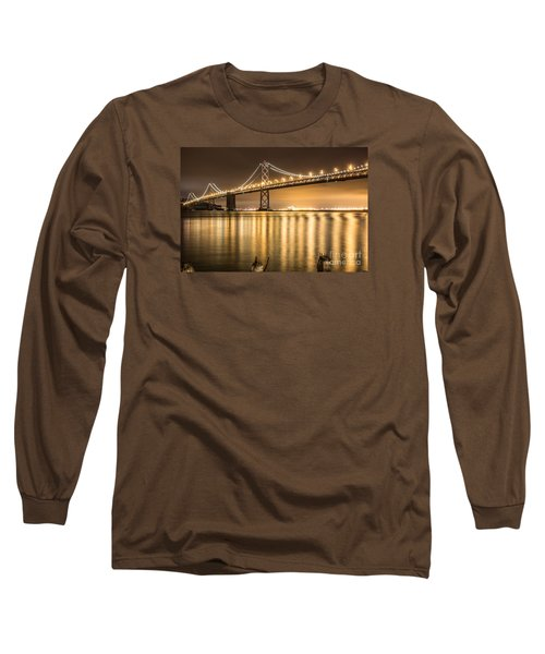 Night Descending On The Bay Bridge Long Sleeve T-Shirt by Suzanne Luft