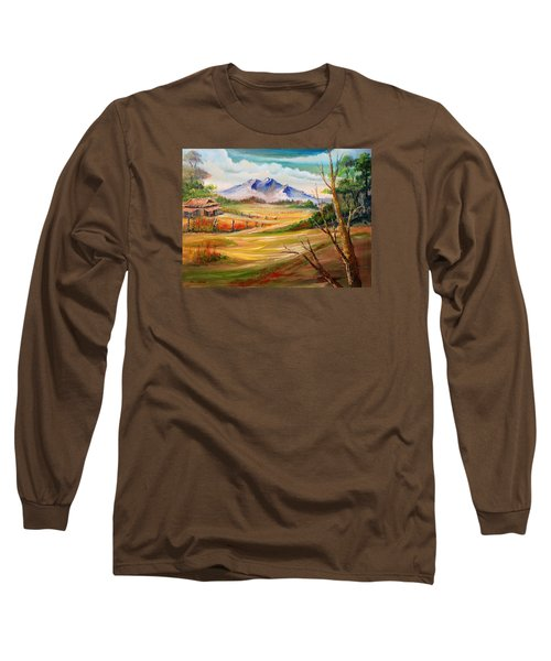 Nipa Hut 2  Long Sleeve T-Shirt by Remegio Onia