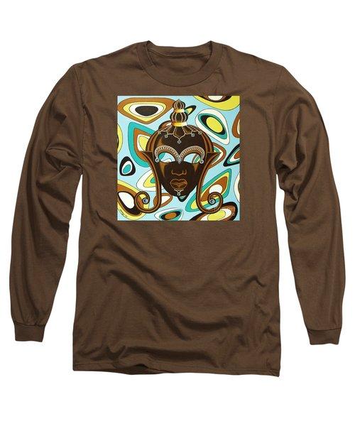 Nubian Modern  Mask Long Sleeve T-Shirt by Joseph Sonday