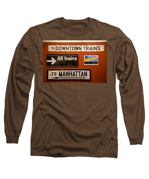 Long Sleeve T-Shirt featuring the photograph Nyc Subway Signs by Susan Candelario