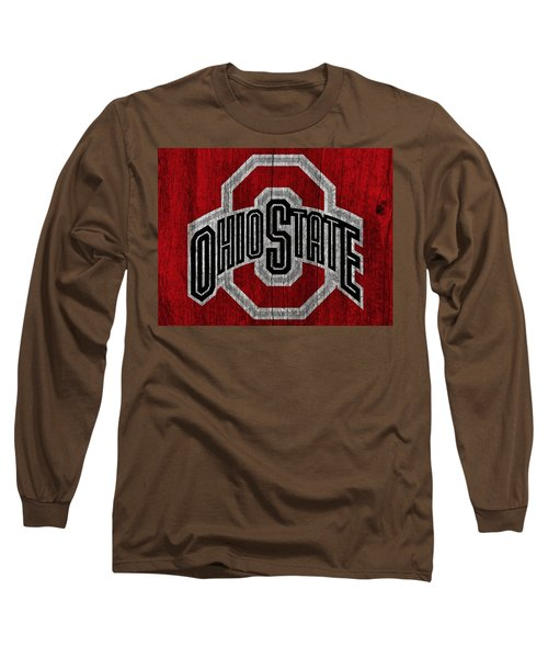 Ohio State University On Worn Wood Long Sleeve T-Shirt