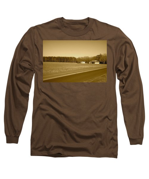 Old Barn And Farm Field In Sepia Long Sleeve T-Shirt by Amazing Photographs AKA Christian Wilson