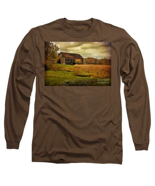 Old Barn In October Long Sleeve T-Shirt by Lois Bryan
