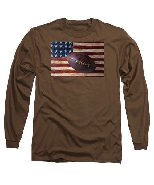 Old Football On American Flag Long Sleeve T-Shirt by Garry Gay