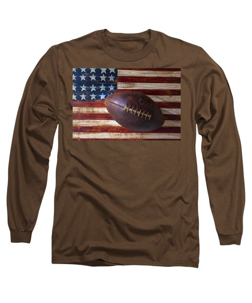 Old Football On American Flag Long Sleeve T-Shirt