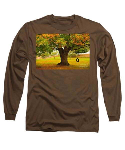 Old Tire Swing Long Sleeve T-Shirt by Terri Gostola