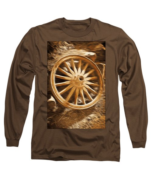 Long Sleeve T-Shirt featuring the mixed media Wheels West by Aaron Berg