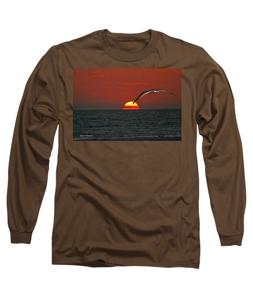 One Black Skimmers At Sunset Long Sleeve T-Shirt by Tom Janca