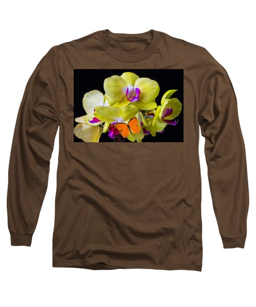Orange Butterfly And Yellow Orchids Long Sleeve T-Shirt