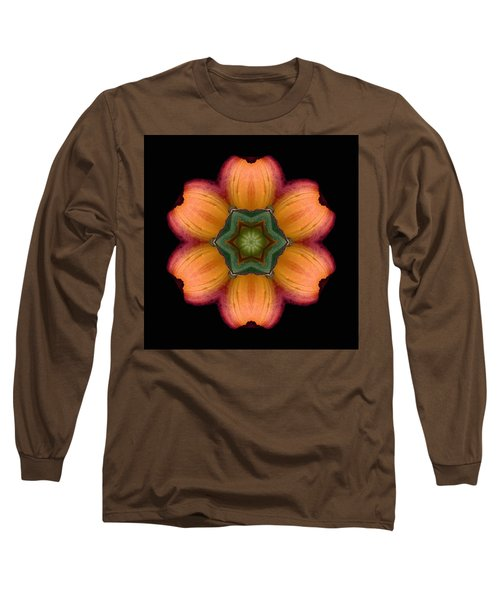 Orange Daylily Flower Mandala Long Sleeve T-Shirt
