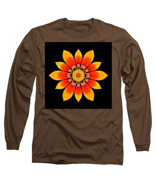 Orange Gazania I Flower Mandala Long Sleeve T-Shirt